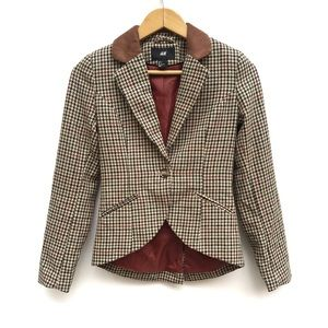 H&M Houndstooth Equestrian Style Elbow Pads Blazer